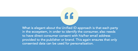 In the Unified ID approach, each party in the ecosystem needs to have direct consumer consent with his email address